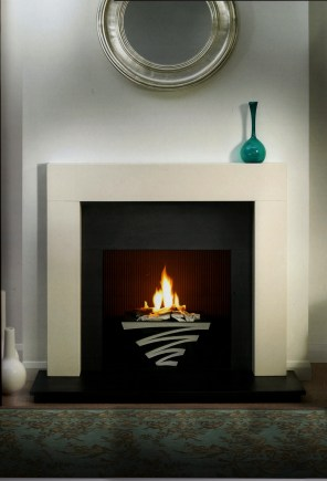 Basket:Lightening chrome finish Mantel: Mentmore 44 Agean Limestone