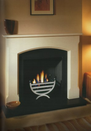Basket: Small Kirton polished side Mantel: Bellingham 54 Agean Limestone