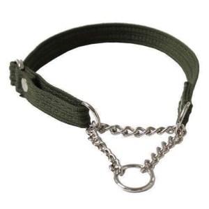 Webbing halsbånd med kæde, Grøn, Medium