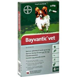 BayVantic Vet Hunde Loppe- og Flåtmiddel - Flere Størrelser - 4 Pipetter