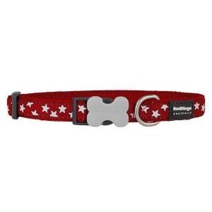 Red Dingo Halsbånd, Rød, Hvide stjerner, 31-47 cm