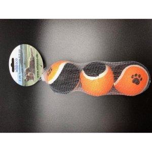 Whesco Hundelegetøjs Tennisbold i Net - 3stk - Ø6,5cm - Med Piv - - - -