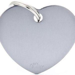Hundetegn Basic Aluminium Big heart grå