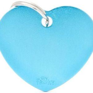 Hundetegn Basic Aluminium Big heart lyseblå