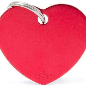 Hundetegn Basic Aluminium Big heart rød