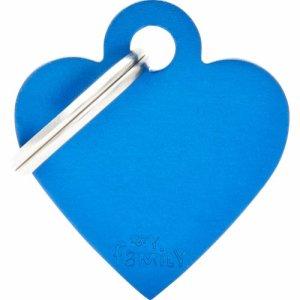 Hundetegn Basic Aluminium Small heart Blå