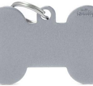 Hundetegn Basic Aluminium XL bone grå