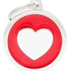 Hundetegn Classic Heart Big circle rød