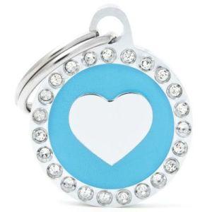 Hundetegn Glam Heart Small circle lyseblå