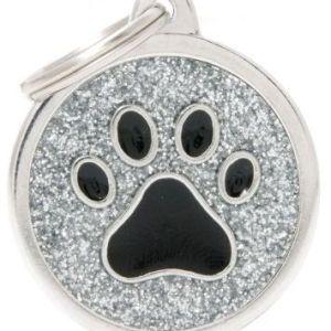 Hundetegn Shine Glitter Paw Big circle sølv