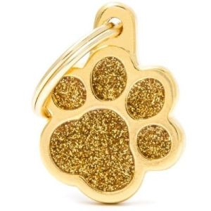 Hundetegn Shine Glitter Small paw guld