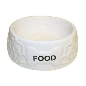 Keramik Foderskål i Hvid - Med Tekst- Ø15x5cm