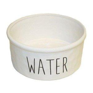 Keramik Vandskål i Hvid - Med Tekst - Ø15,5x7cm