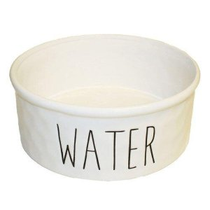 Keramik Vandskål i Hvid - Med Tekst - Ø20x8cm