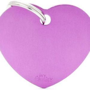 Hundetegn Basic Aluminium Big heart lilla