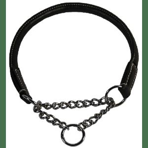 Walker læder halsbånd med kæde 55cm