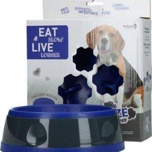 Eat Slow Live Longer Amaze Flower Hundeskål - Blå - Medium