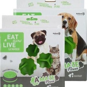 Eat Slow Live Longer Amaze Flower Hundeskål - Grøn - Medium