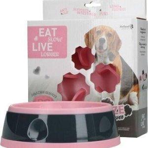 Eat Slow Live Longer Amaze Flower Hundeskål - Pink - Small