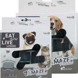 Eat Slow Live Longer Amaze Pinwheel Hundeskål - Grå - Small