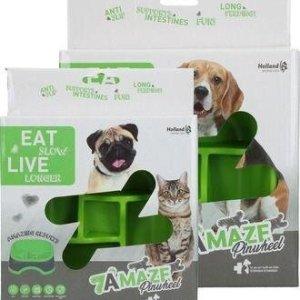 Eat Slow Live Longer Amaze Pinwheel Hundeskål - Grøn - Medium