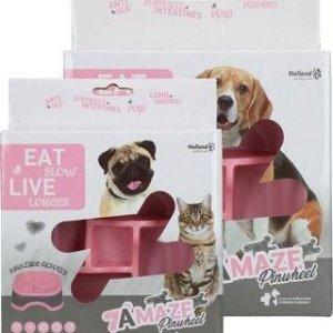 Eat Slow Live Longer Amaze Pinwheel Hundeskål - Pink - Medium