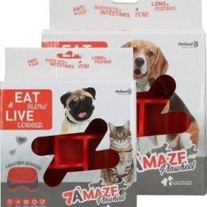 Eat Slow Live Longer Amaze Pinwheel Hundeskål - Rød - Medium