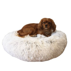 Fluffy hundeseng frossen hvid-XL