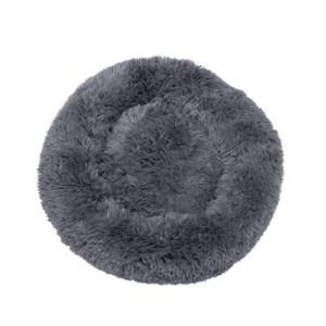 Fluffy hundeseng grå-L