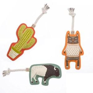 Hundelegetøj i canvas med reb og piv-Kaktus