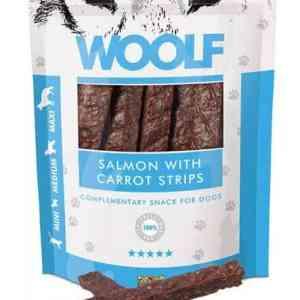 Woolf Hunde Snack Godbidder Laks - Med Gulerodsstrimler - 100g - 85% Laks