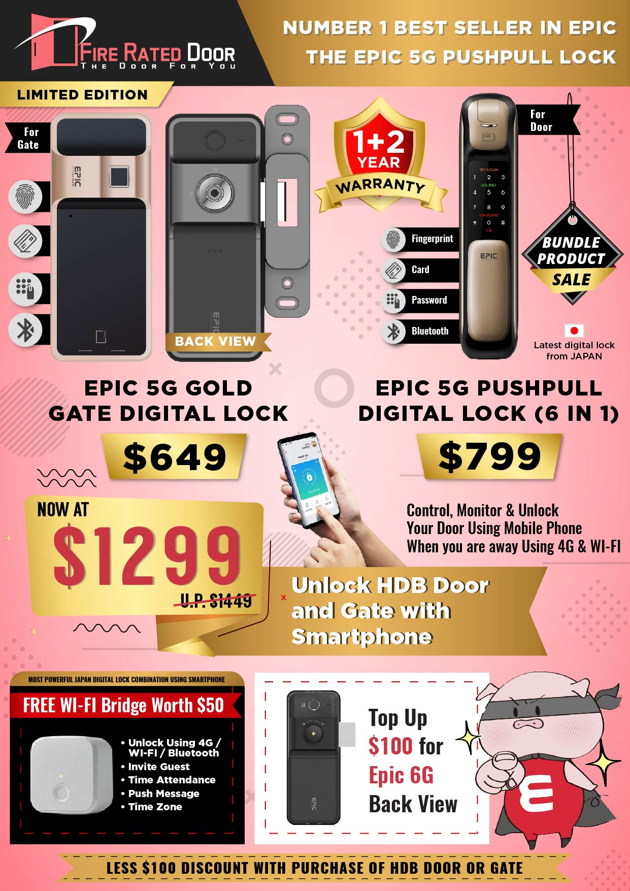 EPIC 5G Gold Gate and 5G Push Pull Digital Lock Promotion