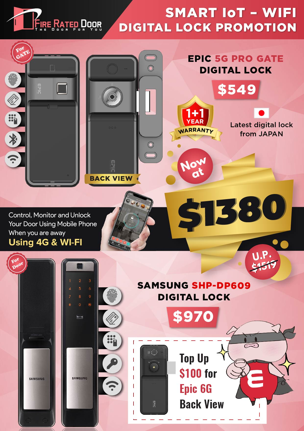 EPIC 5G PRO Gate and Samsung SHP-DP609 Door Digital Lock Promotions
