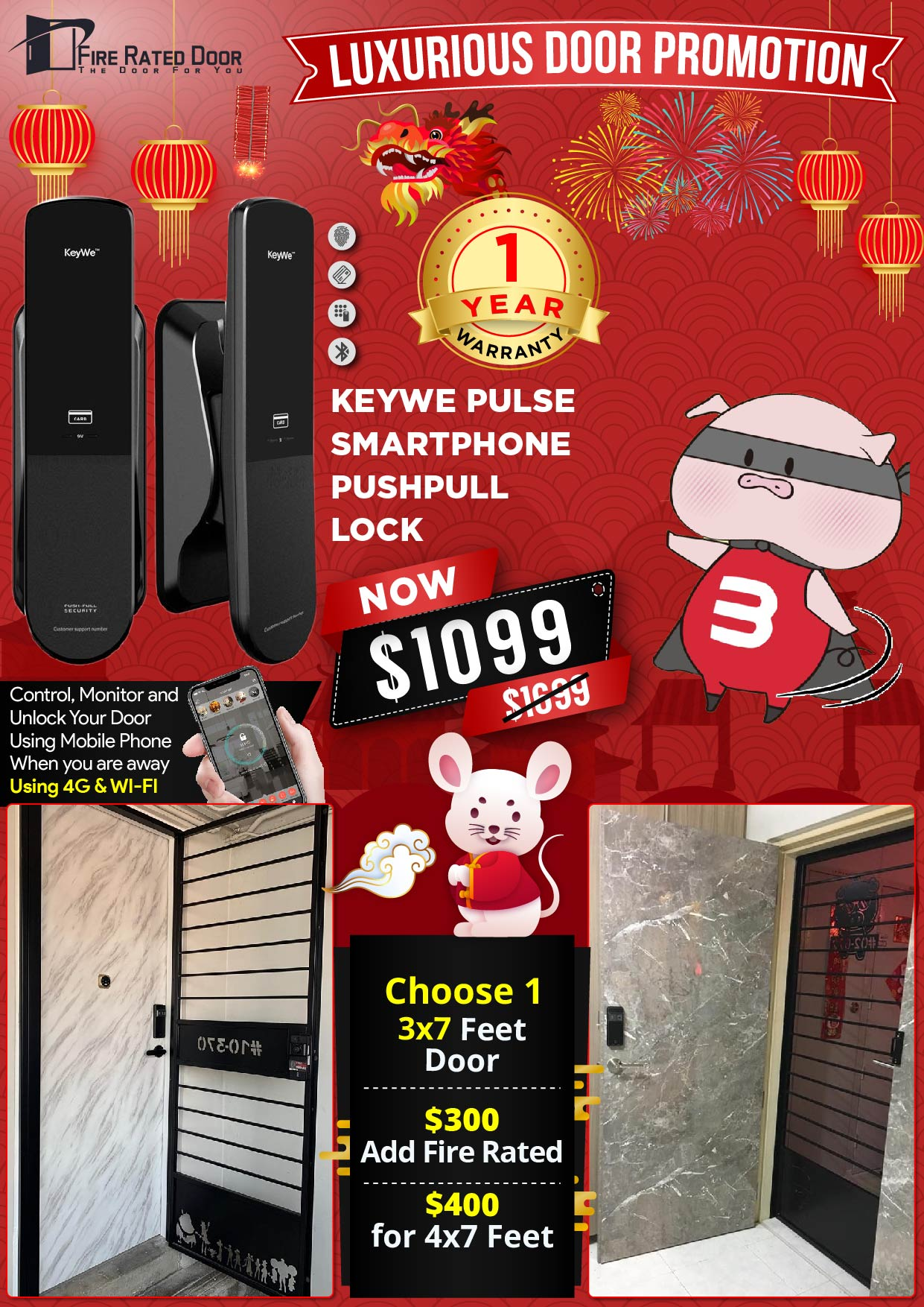 KEYWE Pulse Push Pull Digital Lock with Door and Gate