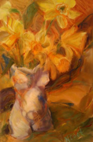 Spring Daffodils-A Study pastel on paper by Nanci Cook