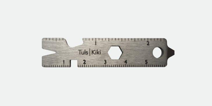 Tuls Kiki Multi Tool aus rostfreiem Edelstahl, Lineal, Flaschenöffner, Sechskant, Schraubendreher, Stemmeisen