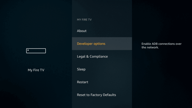 Select Developer Options on your Amazon Firestick