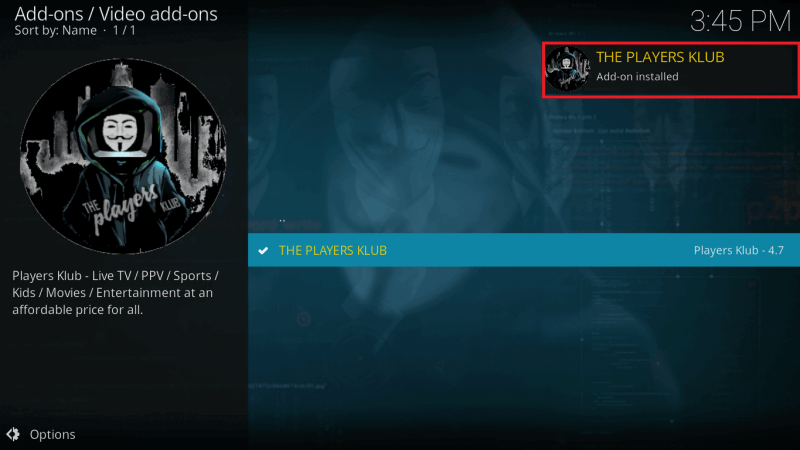 The Players Klub Addon Installed on Kodi