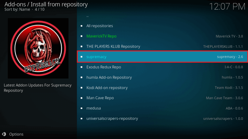 Click on Supremacy Repository