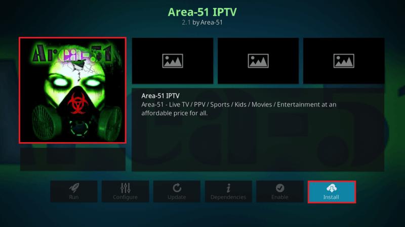 Install Area 51 IPTV Kodi Addon