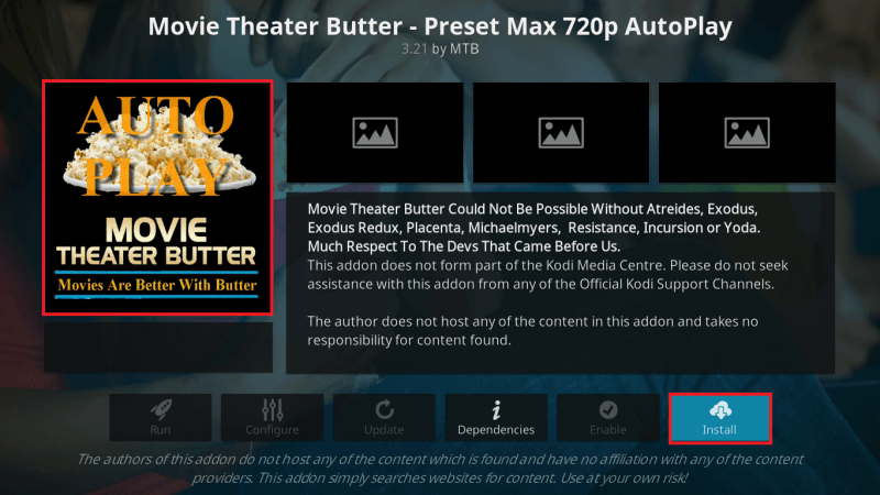 Install Movie Theater Butter Addon on Kodi Leia