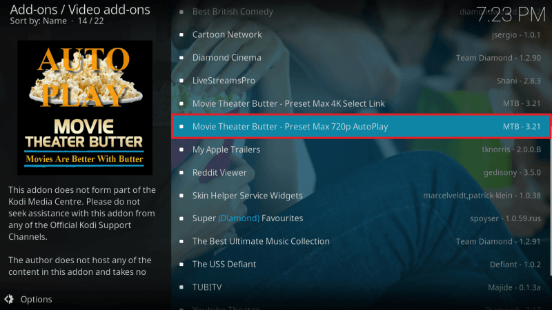 Select Movie Theater Butter Kodi Addon Auto Play