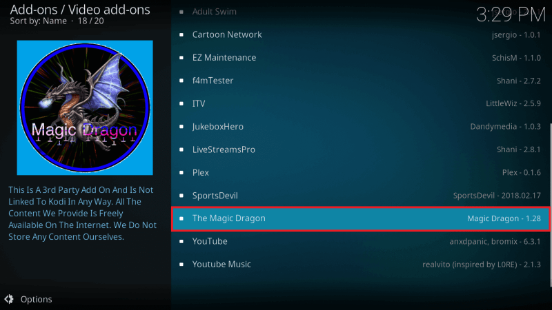 Select The Magic Dragon Kodi Addon