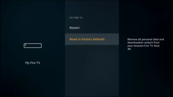 Reset Firestick to default Factory Settings