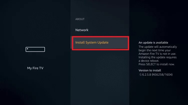 Select Install System Update