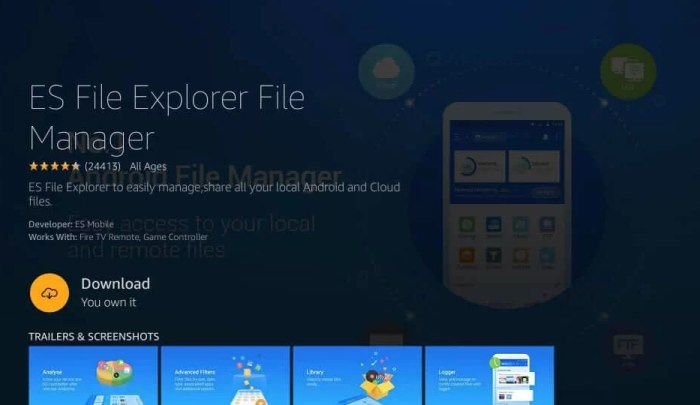 Download ES File Explorer to install Freeview on Firestick