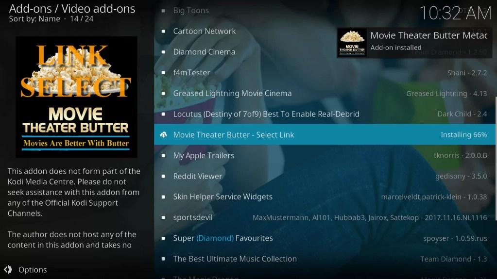 Movie Theatre Butter Kodi Addon