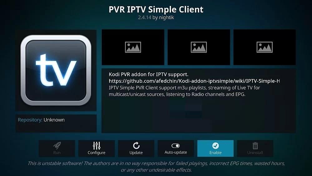 PVR IPTV Simple Client on Kodi