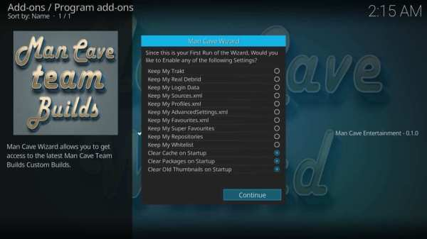 Continue or Ignore - Mancave Wizard Kodi Builds
