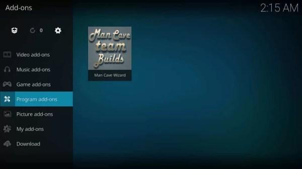 Select Program Add-ons - Mancave Wizard Kodi Builds